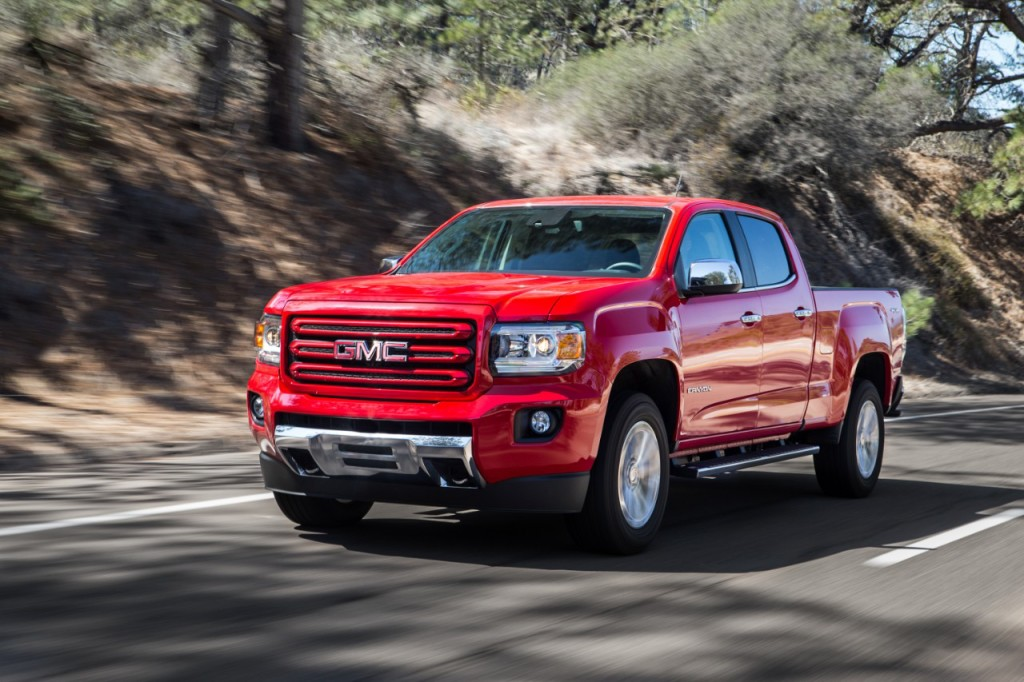 The award-winning 2015 GMC Canyon midsize pickup – which launched last fall – saw its best January in 10 years, and is bringing new buyers into GMC showrooms. © General Motors