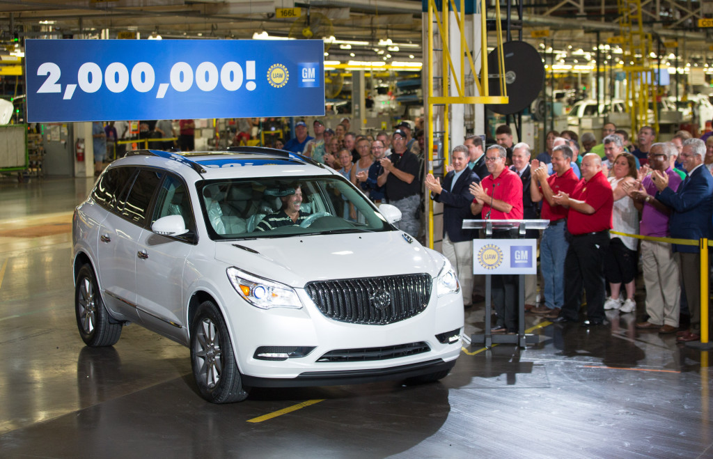 The 2 millionth vehicle, a 2016 Buick Enclave, rolls off the production line at the General Motors Lansing Delta Township Assembly Plant Friday, August 14, 2015, in Lansing, Michigan. GM's newest assembly plant in North America, opened in 2006, Lansing Delta Township Assembly currently employs approximately 3,200 employees on three shifts. (Photo by John F. Martin for General Motors)