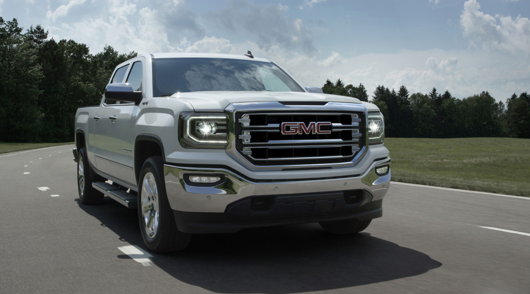 """GMC's best-selling truck has great momentum, coming off its best June since 2006, and 12 consecutive months of year-over-year sales gains.  With exterior styling as its top reason for purchase, the new truck adds key design elements: LED """"C-shaped"""" signature daytime running lights and LED headlights; new front fascia and grilles for each trim level; new LED fog lamps; new bumpers; and new """"C-shaped"""" LED taillights. The new Sierra will be available in the fourth quarter of this year, with additional details and information on the new model released in the coming months. © General Motors."""