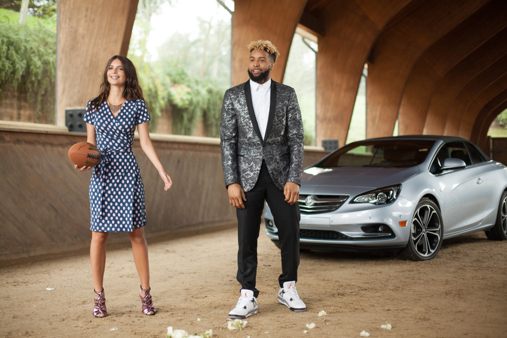 Odell Beckham, Jr, Emily Ratajkowski, and the new Cascada convertible on the set of Buick's first Super Bowl commercial. © General Motors.