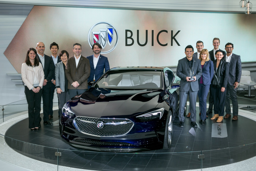 The Design team poses with the Buick Avista Concept after winning the EyesOn Design Award for Design Excellence Ð Concept Car, Tuesday, January 12, 2016 at the North American International Auto Show in Detroit, Michigan. It was the second consecutive year Buick received the award, which was bestowed on the Avenir concept in 2015. (Photo by John F. Martin for Buick)
