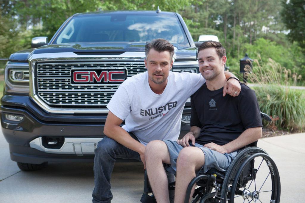 Josh Duhamel with Marine Sergeant Ben Tomlinson. © General Motors.